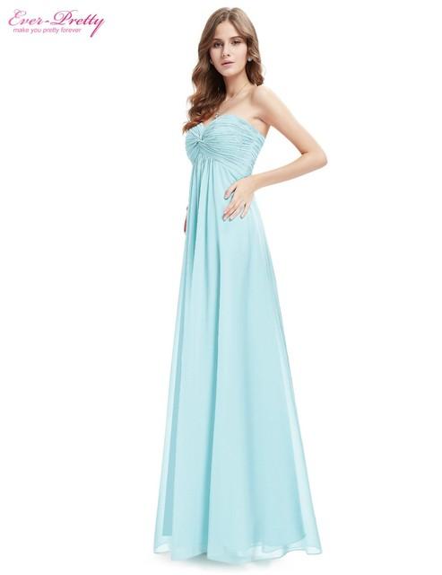 [Clearance Sale] Chiffon Evening Dresses Ever Pretty HE08084 Strapless Elegant Light Blue Ruffled Long Chiffon Dresses 2017