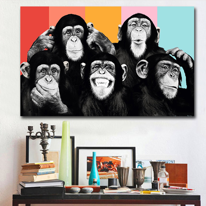 Modern Cute Animal Wall Art Pop Art Funny Chimps Wall Pictures For Living Room Home Decor Printed Frameless