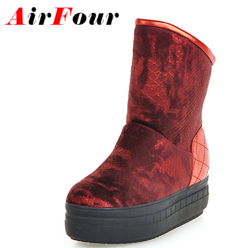 ФОТО Airfour New Ankle Boots for Women Flats Shoes Large Size 34-43 Sexy Red Platform Shoes Round Toe Slip-on Winter Boots Snow Boots