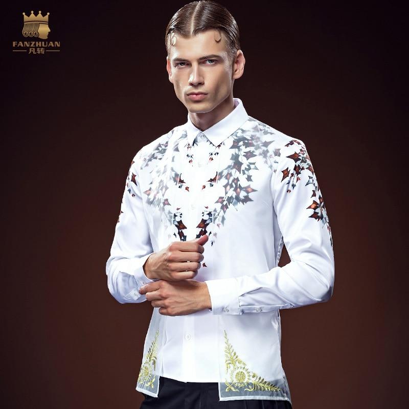 FanZhuan 2016 envío gratis nuevos hombres de la moda masculina casual personalidad del otoño falso dos blanco camisa de manga larga de impresión 612144