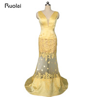 Sexy Real Sample Tulle Satin Appliqued Yellow Evening Dresses Long Prom Dress Custom Made Flowers Mermaid Evening Gowns FE20