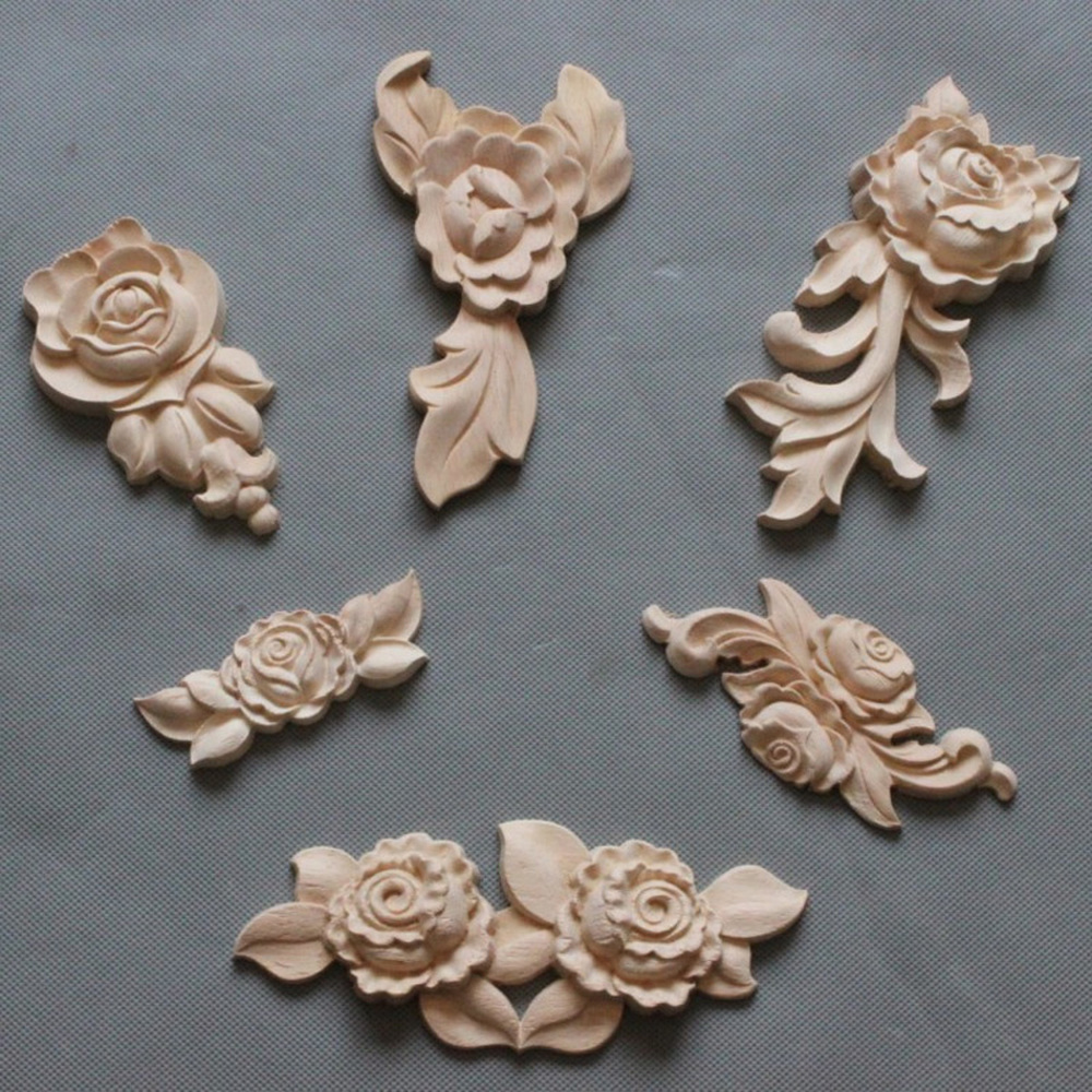 1PC New Flower Wood Carving Natural Wood Appliques For Furniture Cabinet Unpainted Wooden Mouldings Decal Decorative Figurine