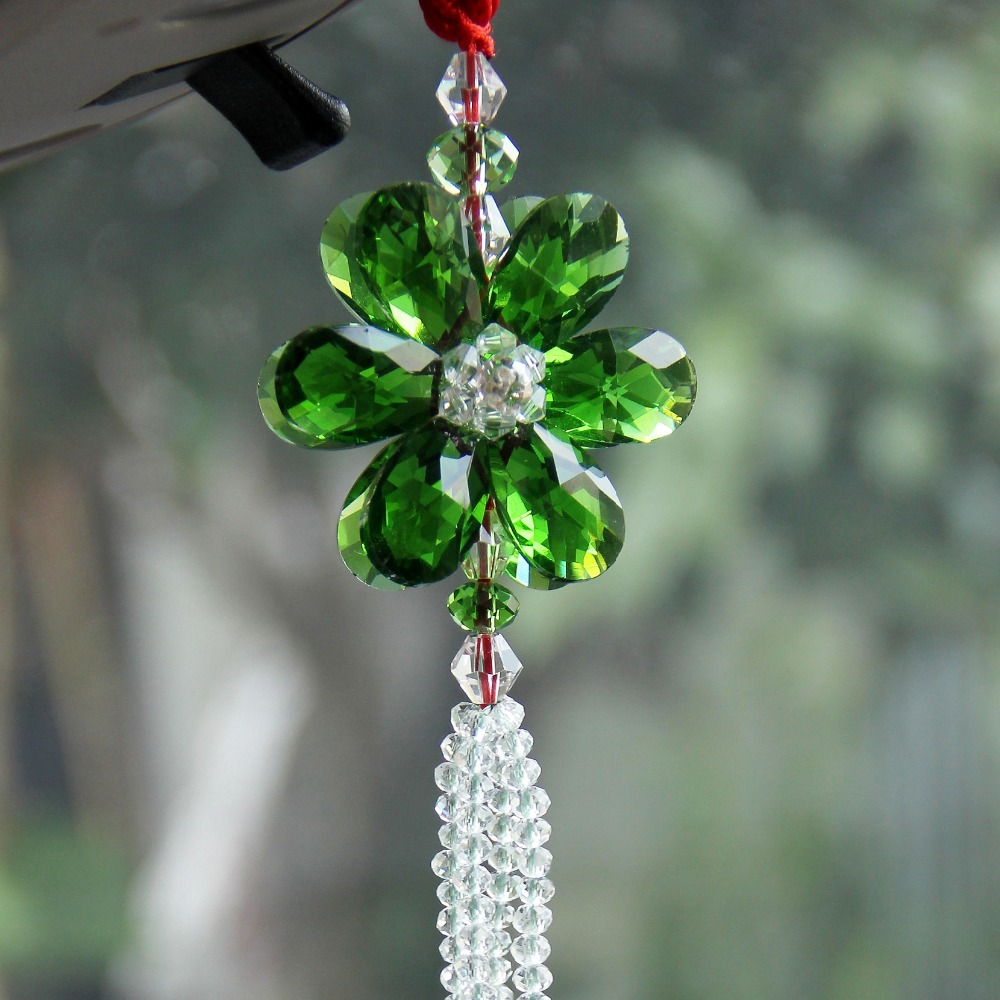 Luxury Lucky Blessing Flower Crystal Car Styling Colorful Car