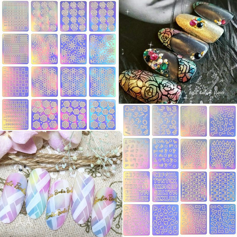 12 Tips/Sheet Hollow Sticker Fish Scale Nail Vinyls Irregular Triangle Grid Pattern Easy Use Nail Art Tips Manicure Stencil Nail 3 designs in 1 sheet laser vinyls nail hollow sticker gold grid irregular patterns tips tool for nail art stencil manicure sa350