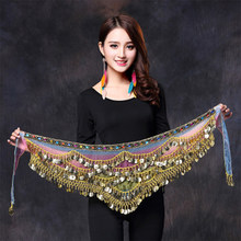 2019 New style belly dance belt newest multi-color glass silk belly dancing belt scarf crystal bellydance waist chain hip scarf(China)