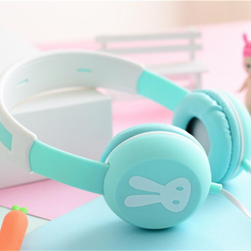 Cute Rabbit Headband Stereo Headphones Microphone Portable Wired Headset for Kids Girls Mobile Phone iPhone Samsung Gift Pink headphones