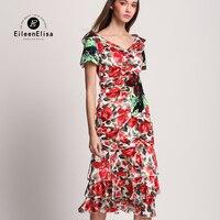 100 Silk Dress for Women Silk Print Dress Runway Dress Red Floral