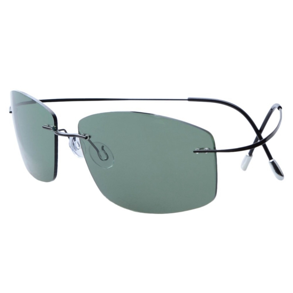Ultra-light Non-screw Non-hinge Rimless Titanium Frame Gray Green - Apparel Accessories - Photo 3