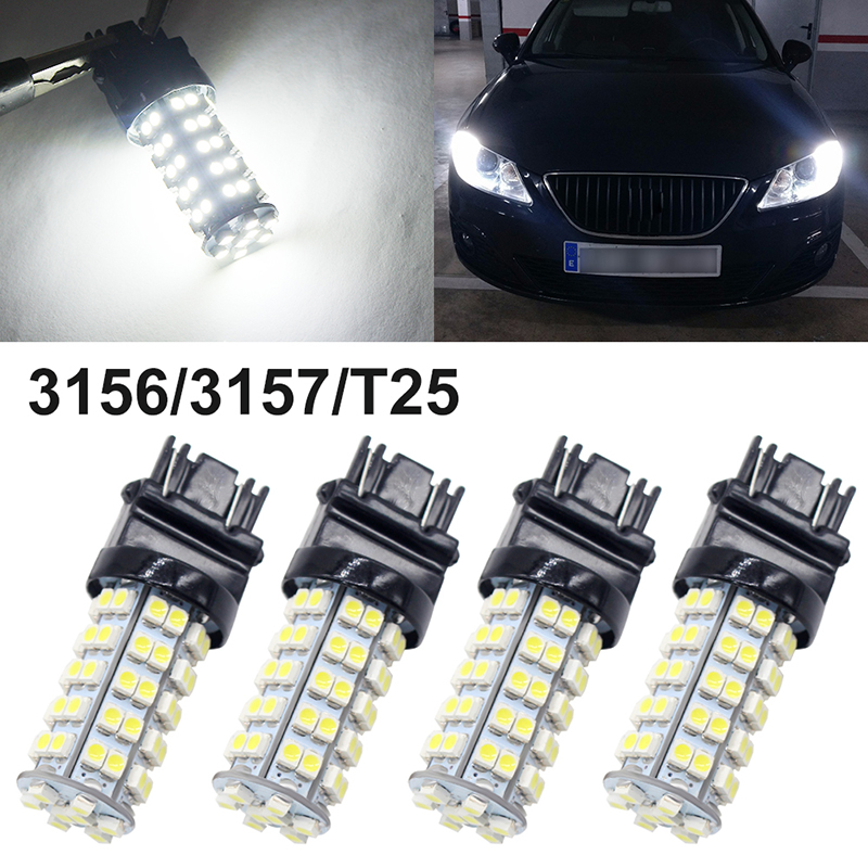 10 x NEW White 3157 Brake Tail Stop 12V LED Bulbs 68-SMD 1210 T25 3057 3457 4157