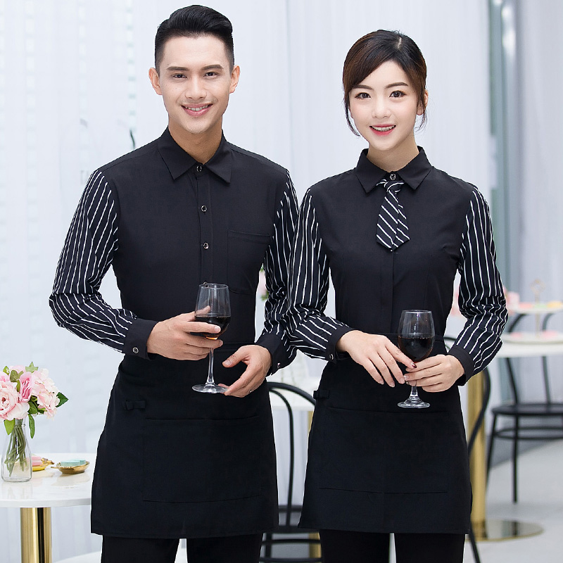 Spring/Autumn Long Sleeve Black Striped Work Shirt+Apron Set Hotel DIY Logo Waiter Uniform Clothing Customized Logo Work Wear