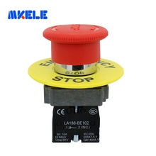 Emergency Stop Push Button Switch Red Mushroom Cap  660V 10A Push Button Switch With Yellow Warning Ring lhll red mushroom cap 1no 1nc dpst emergency stop push button switch ac 660v 10a