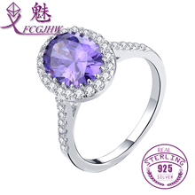100% 925 Sterling Silver Solitaire Oval Natural Amethyst Engagement Ring For Women Sterling Silver Jewelry  FCGJHW