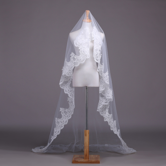 Real Photo White / Ivory Lace Wedding Veil Bridal Veil 2.5 Meters Cathedral Long Wedding Veils Veu De Noiva Wedding Accessories