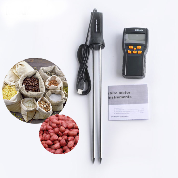 MD7822 LCD Digital Grains Moisture Meter Thermometer Humidity Tester Rice Corn Wheat Coffee Bean Wet Tester Hygrometer with CPU mc 7806 digital moisture analyzer price with pin type cotton paper building tobacco moisture meter