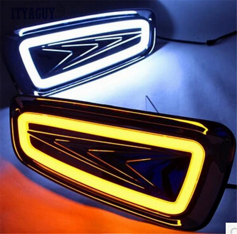Car-Styling LED Daytime Running Light DRL For F150 2009 -2015 Turn Signal Yellow Fog Lamp driving light