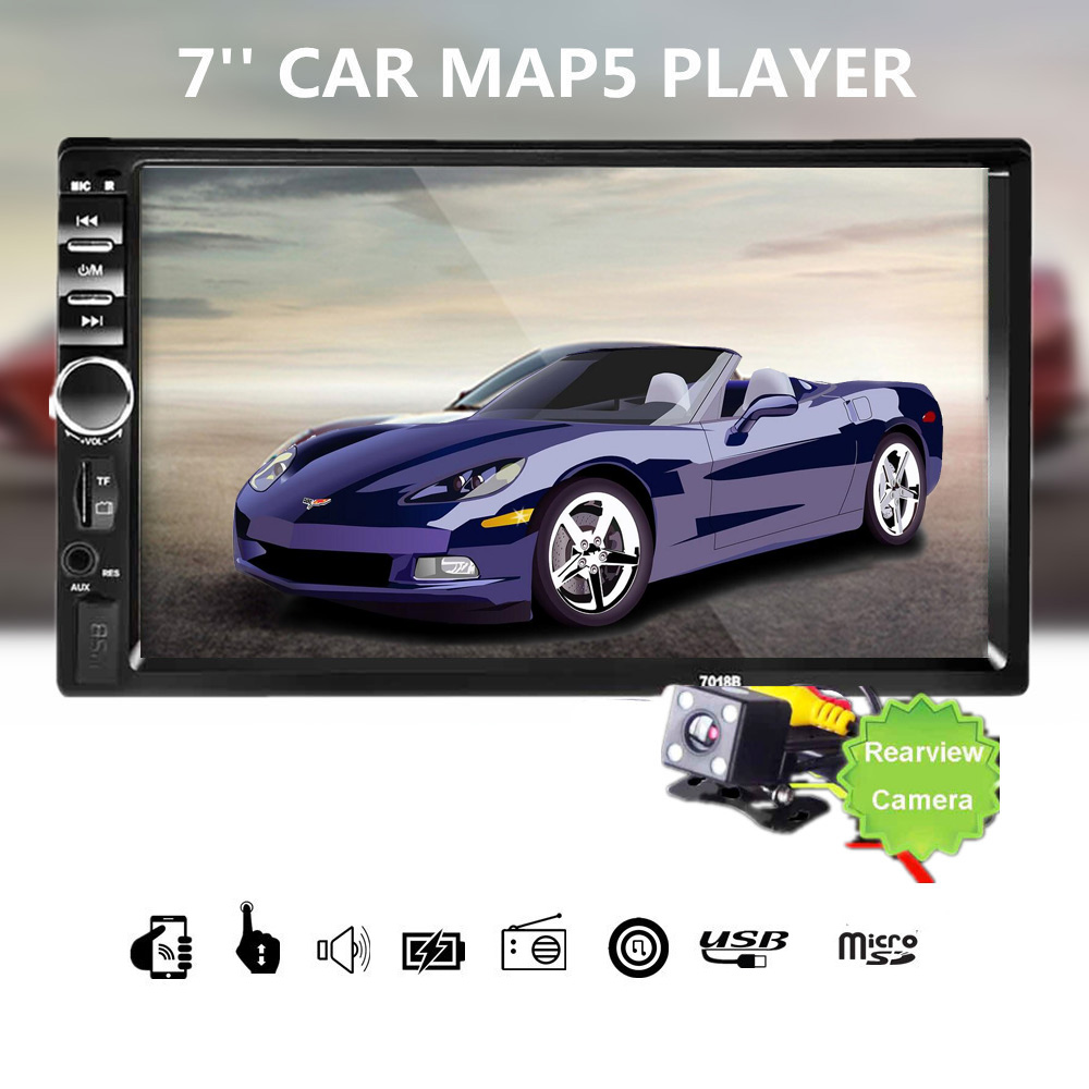 Car Stereo Bluetooth HD 7 Touch Screen 12V 2 Din FM Car Radio ISO power Aux Input Receiver SD USB MP5 MMC WMA Autoradio Player leshp 7001 hd 1080p touch screen with am rds music movie player bluetooth car radio video mp5 player autoradio fm aux usb sd
