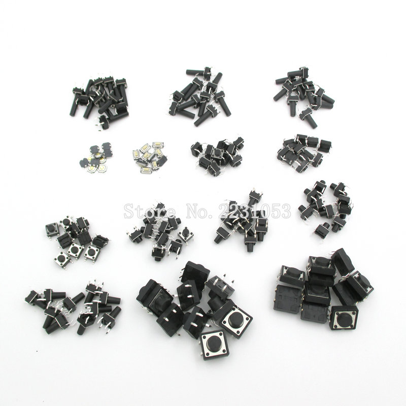 140PCS/LOT 14types Momentary Tact Tactile Push Button Switch SMD Assortment Kit Set Life 100000 times