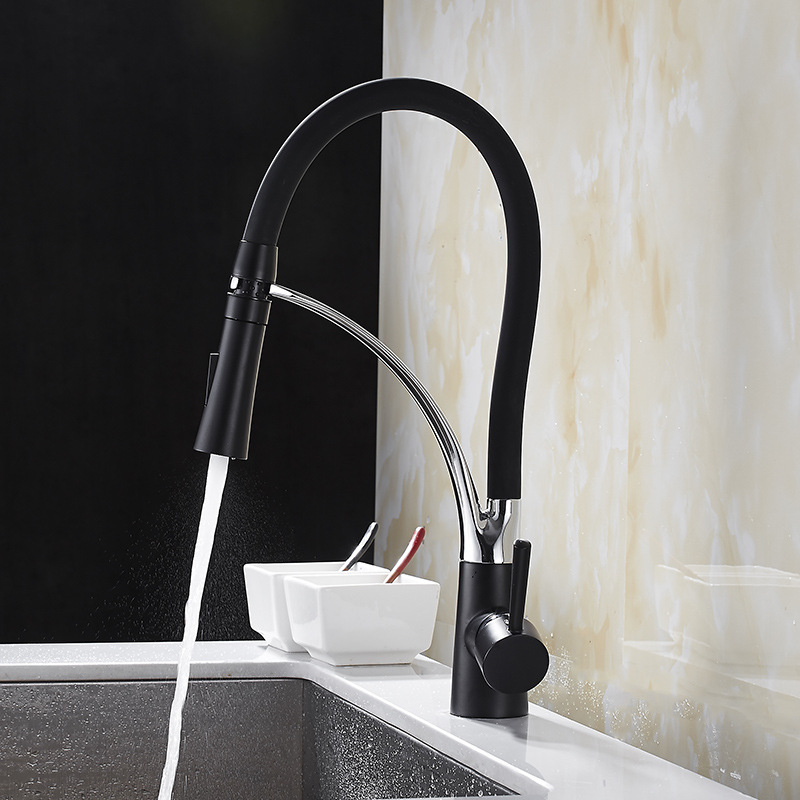 MTTUZK Kitchen Mixer Sink Faucet Brass Brushed Nickel Torneira Tap Kitchen Faucets Hot Cold Deck Mounted Black Bath Mixer Tap-in Kitchen Faucets from Home Improvement    3