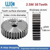 2.5 m 36 dentes pinhão 36 t mod 2.5 m direita dentes engrenagem positiva 45 # aço cnc engrenagem cremalheira transmissão rc