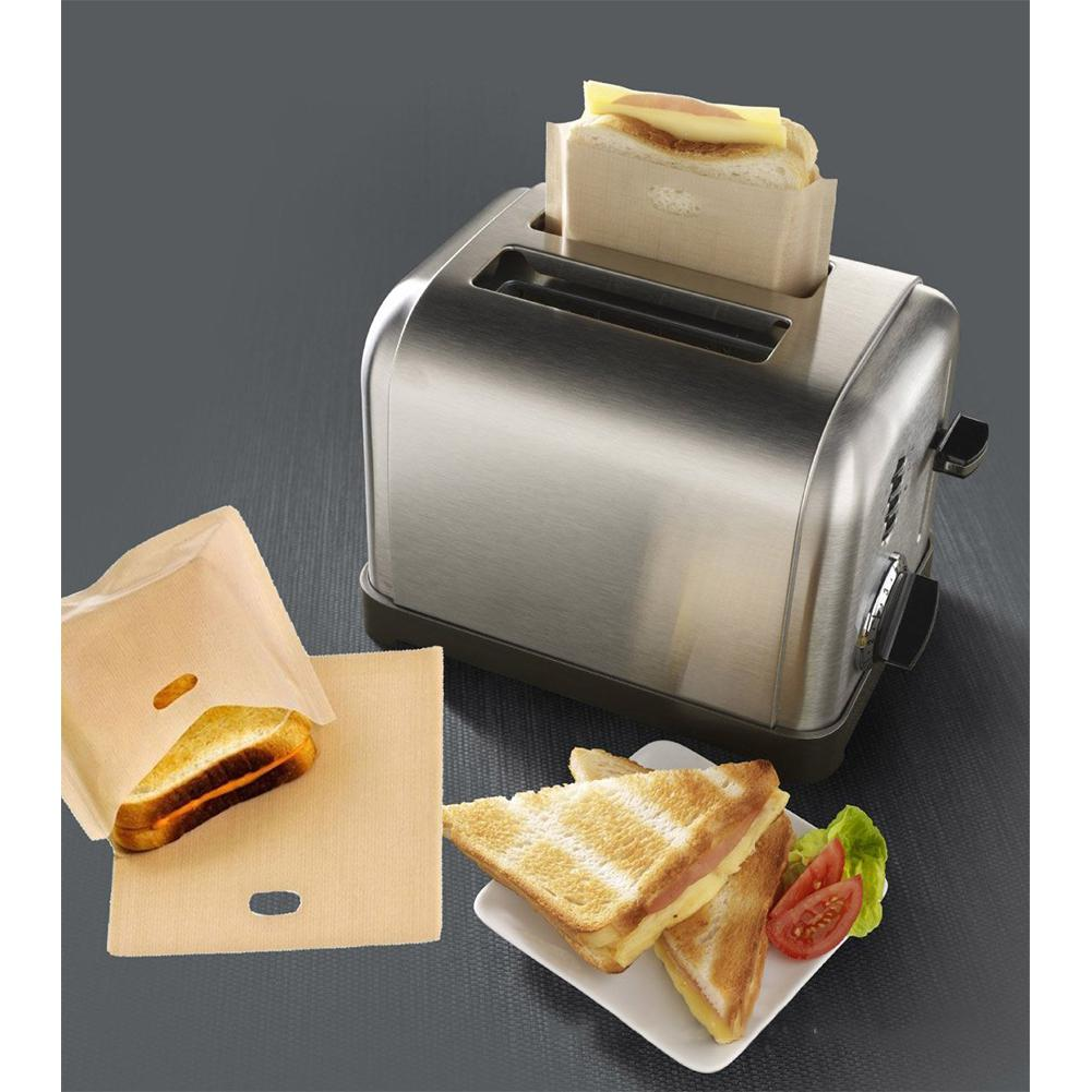 Heat Resistant Toaster Bags for Grilled Cheese Sandwiches Reusable Non-stick Baked Bread Bags Microwave Heating Pastry Tools image