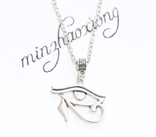 Vintage Tibetan Silver Egyptian Necklace Eye Of Horus Amulet Jewelry Hieroglyph Charm Pendant Chain