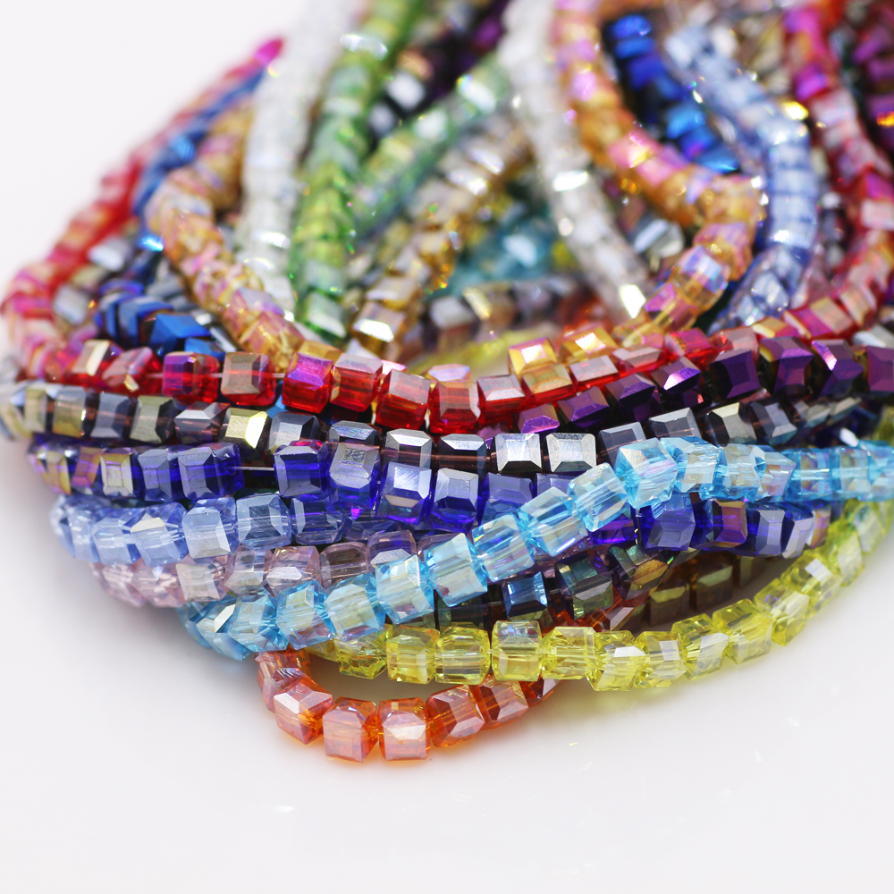 4mm 100pcs Helix Crystal Beads Fit Necklace Bracelet Jewelry Making Cobalt AB