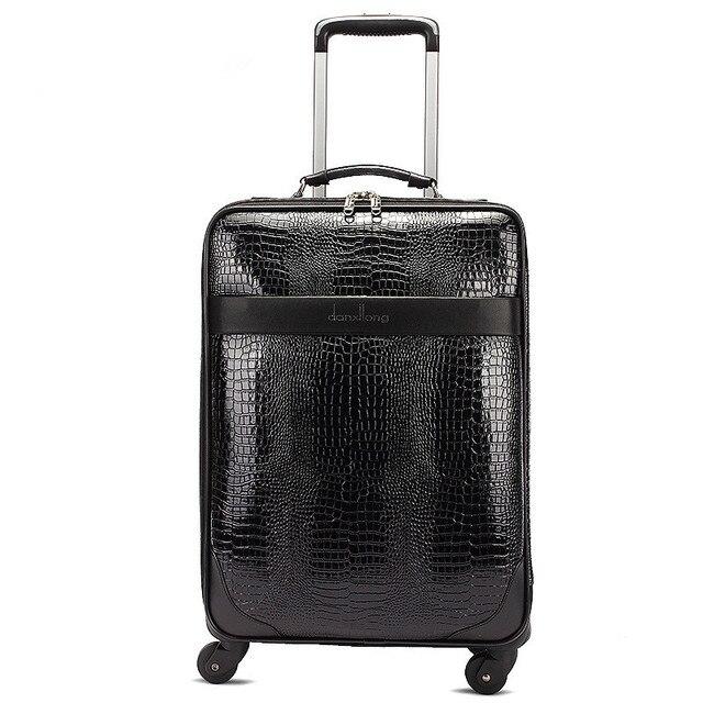 Оптовые! 16 дюйма крокодил зерна пу кожаный дорожный багаж, сумки на универсальные диски, высокое качество коммерческих багаж, FGF-0004-16