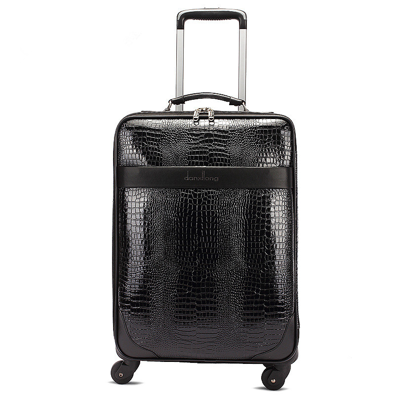 Wholesale!16inch crocodile grain pu leather travel luggage bags on universal wheels,high quality commerical luggages,FGF-0004-16