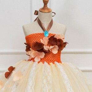 Image 4 - Платье принцессы, пачка Моаны для девочек, вечерние платья на день рождения, детские кружевные тюлевые платья с цветами для девочек, Детский карнавальный костюм на Хэллоуин