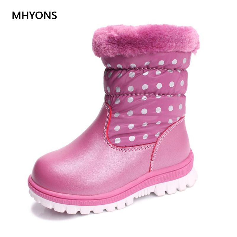 2018 New Fashion Girls Boy Boots Waterproof Toddler Kids Boots Warm Plush Boys Snow Boots Children Winter Comfortable Warm Shoes size35 45 toddler snow boot kids 2016 winter wool snow boots for girls boys new plush shoes children boots with fur warm botas page 8