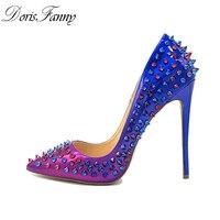 Doris Fanny women heels shoes rivet studded pumps patchwork pointed toe stiletto sexy high heels pumps 12cm
