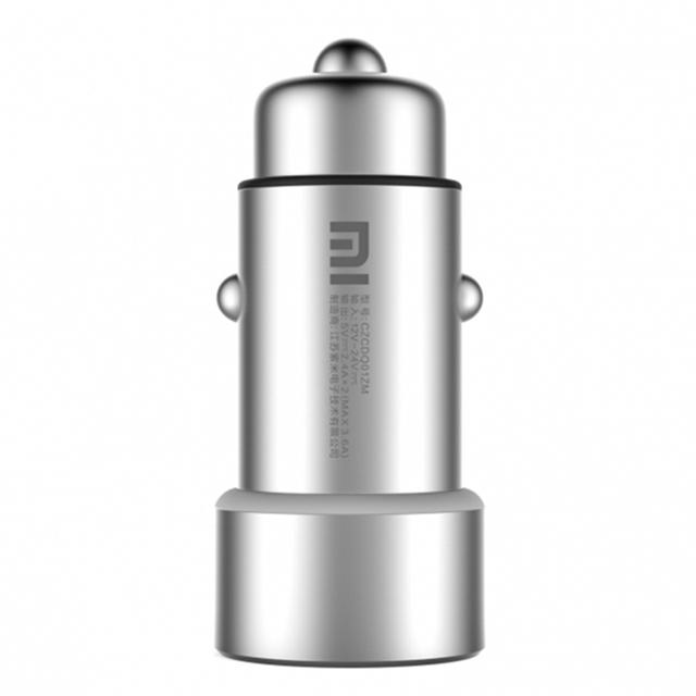 100% original xiaomi mi apariencia de metal 2-en-1 carga rápida cargador de coche doble usb para tablets teléfonos móviles huawei