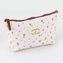Vintage Floral Canvas Cosmetics Storage Bag