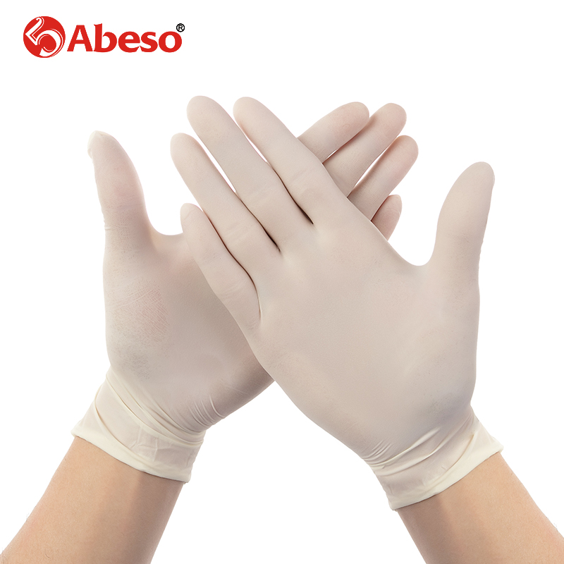 ABESO latex Electronic disposable gloves  for food home cleaning Acid Alkali resistance antiskid 100 pcs/ box golves A7105 anti acid and alkali chemical corrosion fisheries agriculture latex rubber gloves labor supplies black