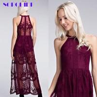 SORCHIDF Chic 2018 New Women Elegant Lace Dress Sexy Halter Neck Slim Skinny Maxi Split Party Dresses Vintage Long Dress Vestido