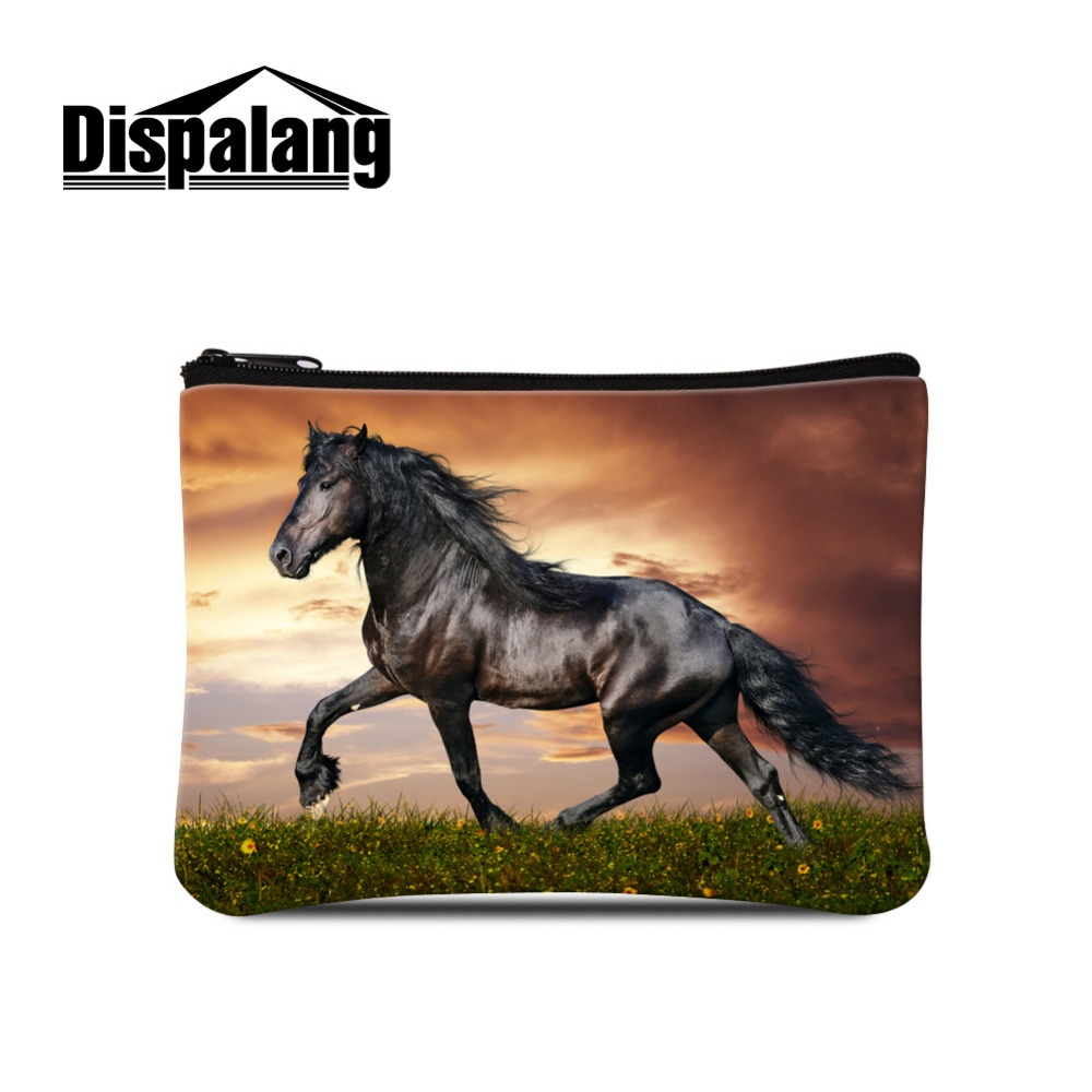 Dispalang Animal Horse Printing Coin Bag for Children Cute Small Coin Purse for Women ladies Casula Coin Purse with Zipper