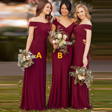 Mermaid Bridesmaid Dresses Long  Dress for Wedding Party 2020 V Neck Robe Demoiselle Dhonneur Wedding Guest Dress