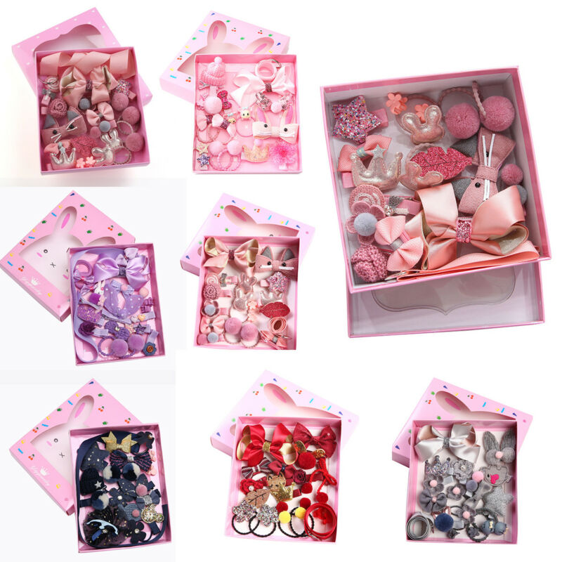 18Pcs/Set Cute Hair Clip Set Baby Girls Boutique Head Clips Hair Bows Crown Princess Bobbles Headwear Accessories Gift Christmas