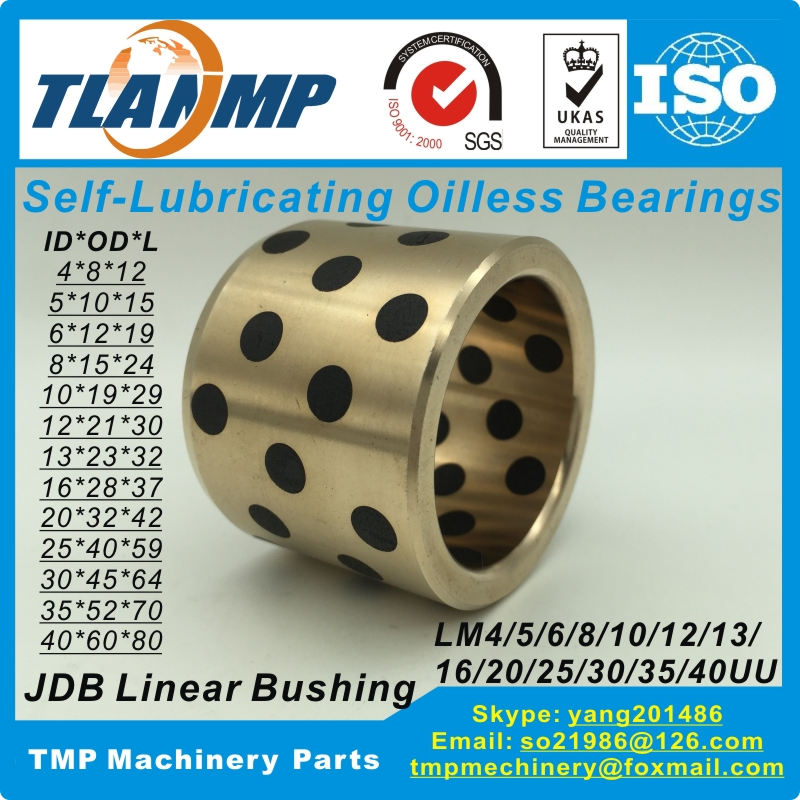 JDB Linear Graphite Copper Bearings Copper Bushing Oilless Self-lubricating Bearings-LM4/5/6/8/10/12/13/16/20/25/30/35/40UU