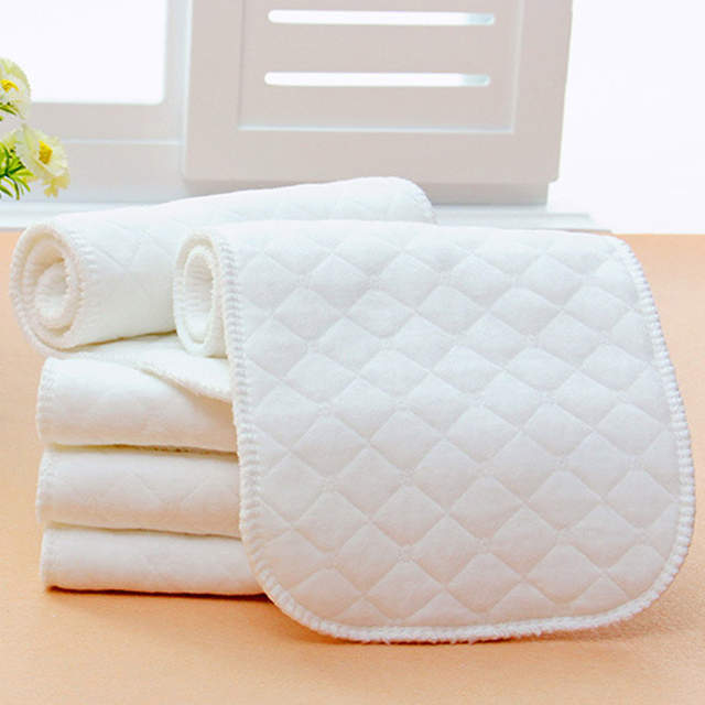 10Pcs Reusable Baby White Cloth Diaper Nappy Liners Insert Cotton Washable  Nappy Cloth merries