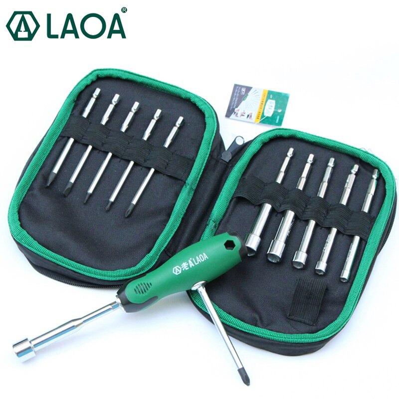 LAOA 12 dans 1 Jeu de Tournevis Multifonction T-poignée Tournevis Haute dureté perceuse électrique Bits Ménage avec un tournevis