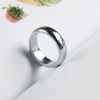 Genuine Natural Gibeon Meteorite Silver Plated Flat Style Women Fashion Lady Ring