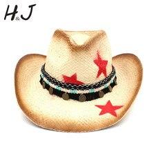 Соломенная Женская Ковбойская шляпа в западном стиле с кисточкой, кожаный ремешок, звезда, леди, папа, сомбреро, Hombre, ковбойская, джазовая шапка, размер 58 см