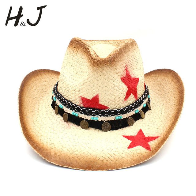 100% Straw Women Western Cowboy Hat With Tassel Leather Band Star Lady Dad  Sombrero Hombre Cowgirl Jazz Caps Size 58CM 38579c753a1