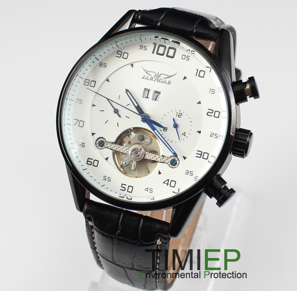 Green Mens Automatic Mechanical Analog Leather Band Men's Wrist Watch Black Case