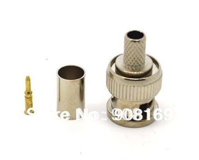 Video line head BNC connector BNC male crimp plug for RG59 coaxial cable BNC male 3-piece crimp connector plugs for CCTV camera 20pcs bnc male to bnc male plug cables double straight crimp rg58 connector