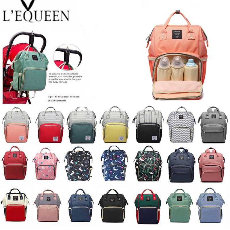 5b495c322c8b0 Lequeen Moda Mumya Analık Bez Torba Marka Büyük Kapasiteli Bebek Çantası  seyahat sırt çantası Tasarımcı Hemşirelik