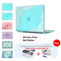 White Lace Cyan Background Laptop Case For Macbook Air 13 Case Air 11 Pro 13 15