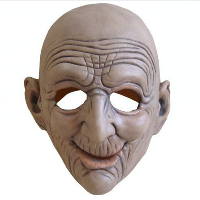 Funny Smiling Old Man Latex Mask Halloween Realistic Old People Full Face Rubber Masks Masquerade Cosplay Props Adults Size