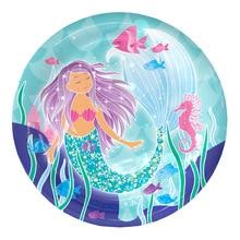 10pcs 7inch diameter 18cm Mermaid design Paper Plates for Kids Birthday Party Decoration Supplies